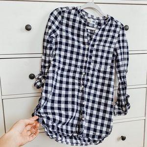 Women's Small Tunic Plaid Button Down Shirt Blouse